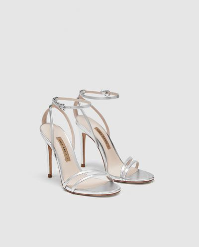 d99e19d02254 Image 4 of LAMINATED HIGH-HEEL STRAPPY SANDALS from Zara