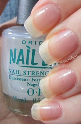 Nail Envy by OPI, follow the instructions (two coats, then every second day, add one more coat.  At the end of the week, remove it all and start again with two coats). Good for brittle nails..this is legit stuff!  Makes you nails grow strong!
