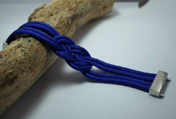 Bracelet Manchette bleu royal noeud de marin corde