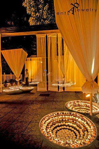 Sufi Night | Sangeet decor ideas | Free Sangeet Theme | decor ideas for sufi sangeet | Designed by Abhinav Bhagat Events | Gold Urulis with flowers and diyas