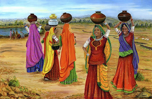 Rajasthani Women Going Towards a pond to fetch water
