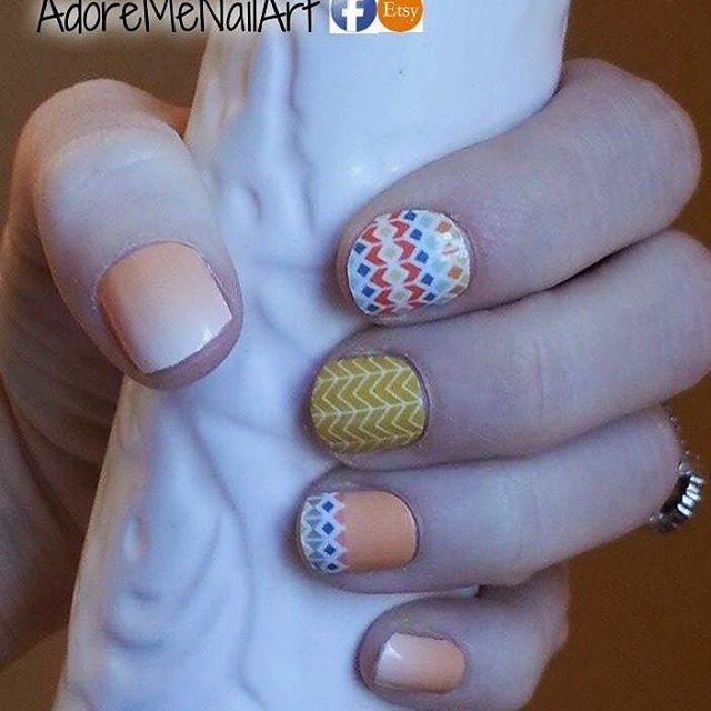 Jamberry custom tribal - Love this #tribal #jamberry #customnails wrap! For specials and more visit me on etsy and Facebook. Join my Facebook group for 10%off your first order!  Links in bio. #jamberrynails #jamberrynailwraps #jamberrynas #tribalnails #tribalnailart #aztecnails #ombrenails #ombrenail #ombrenailart #nailart #nailartdesign #nailaddict #orange #red #blue