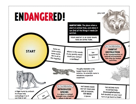 Download the 4 pages of this file and assemble into a game board on endangered species. Great resource from the American Museum of Natural History. Please note that this file will automatically download without opening another window.