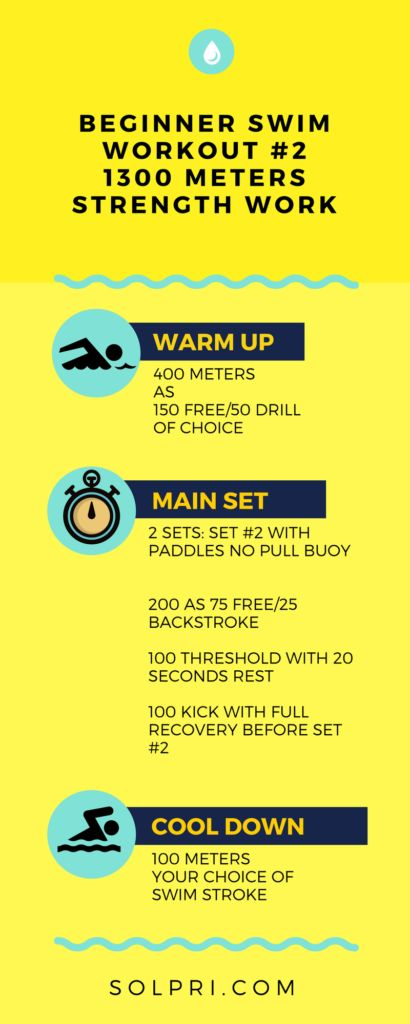 """*If you're just starting out and need a shorter set, cut the warmup in half and do only one round of the main set, with paddles*  Beginner, Intermediate and Advanced Swim Workouts to build strength in the pool. Increasing your strength helps build your ability to push more water, move faster and burn more calories at the same time. Click """"visit"""" to see the intermediate and advanced swims in the post."""