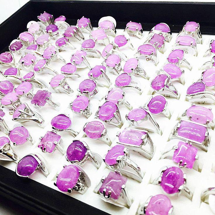 Wholesale Bulk Lots 20Pcs/Lot Women's Fashion Purple Stone Jewelry Rings Gifts