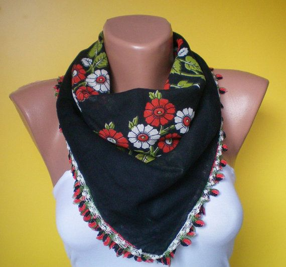 Turkish Oya Black Scarf, Hand Painting, Square,Hand Crocheted Lace, Ethnic