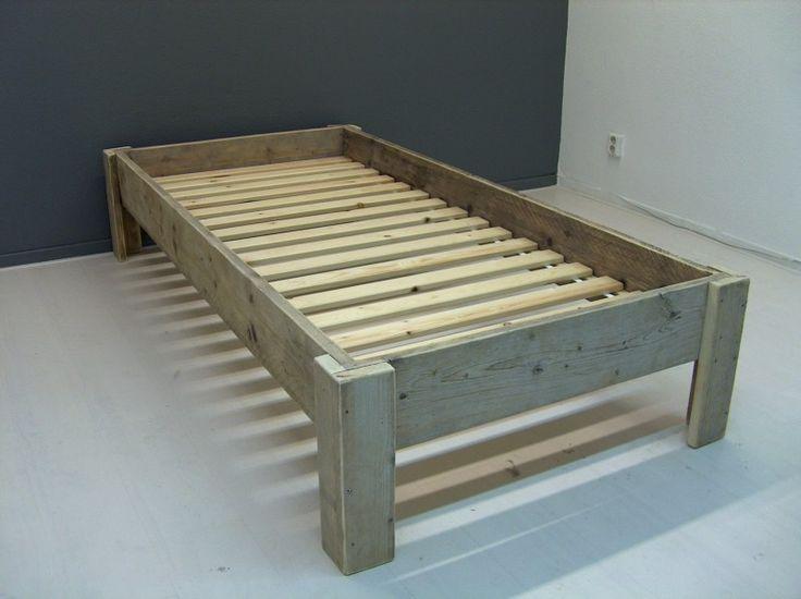 1 persoons budget bed steigerhout (128090300BDG)
