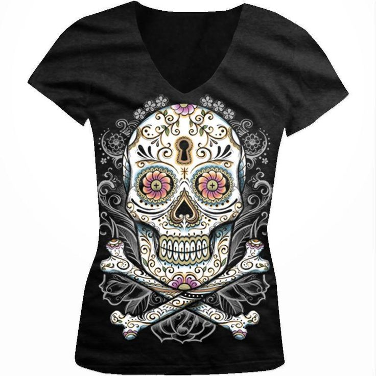 Floral Sugar Skull V-neck T-shirt