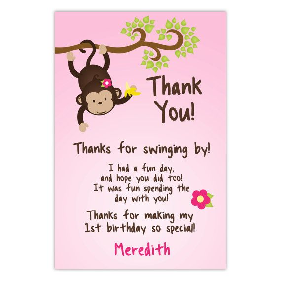 Mod Monkey Thank You Card - Adorable Little Pink Girl Monkey and Flower Personalized Birthday Party Thank You - a Digital Printable File