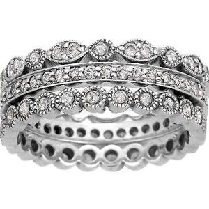 18K White Gold Luxe Antique Eternity Diamond Ring Stack (over 1 ct.tw.), top view