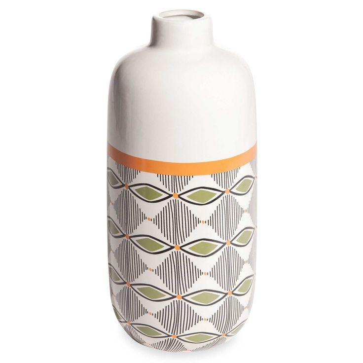 Vase en céramique blanche motifs tricolores H.30cm GAO