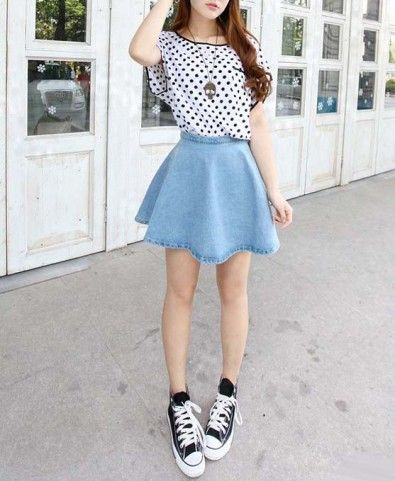 High Waist Denim Skater Skirt in Light Blue Wash