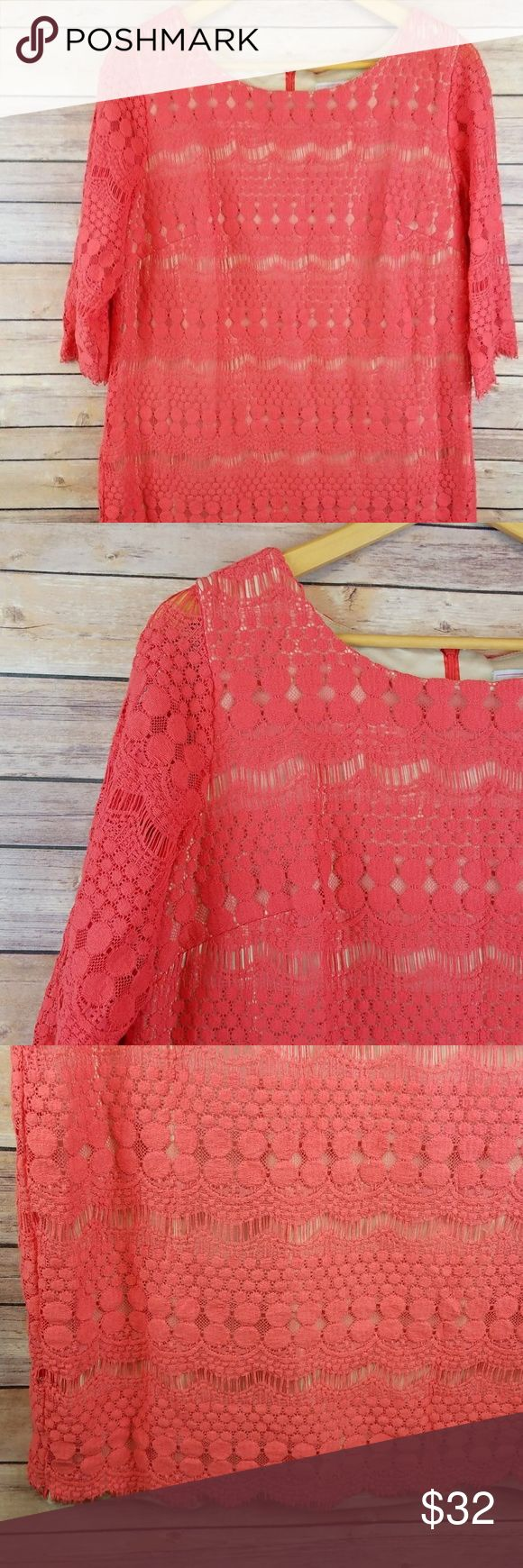 """Jessica Howard Pink Lace Shift Dress Plus Size 14W Jessica Howard Womens 3/4 Sleeve Pink Summer Lace Lined Shift Dress Size 14W   Excellent used condition- no rips, stains, smoke free home. Pit to pit: 21""""  Shoulder to hem: 37"""" Jessica Howard Dresses Midi"""