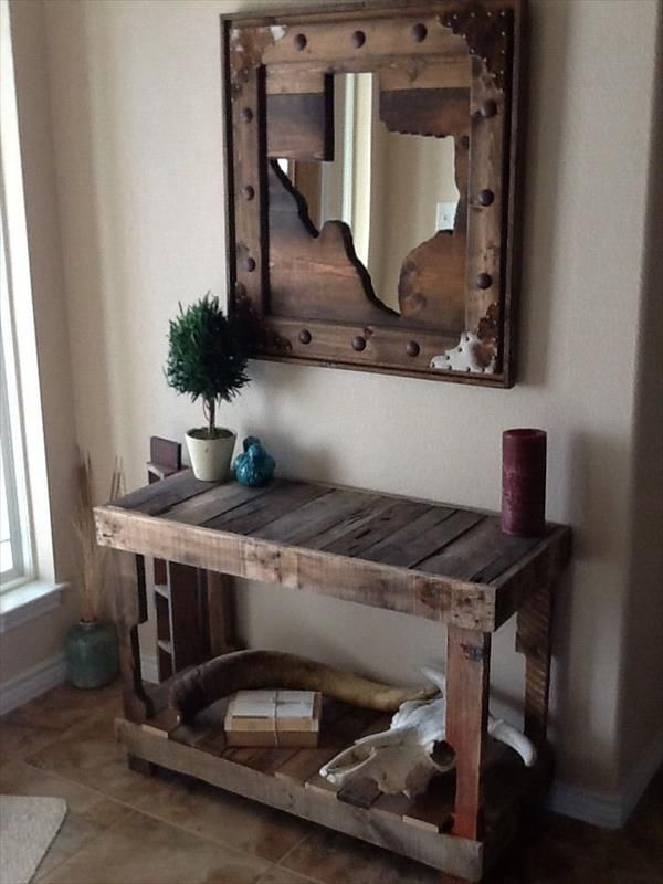 30 DIY Furniture Made From Wooden Pallets | Pallet Furniture DIY--- LOVE THE MIRROR AND THE TABLE, THE SPACE IS RUSTIC, LOVE, LOVE