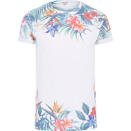 White summer floral print t-shirt £14.40