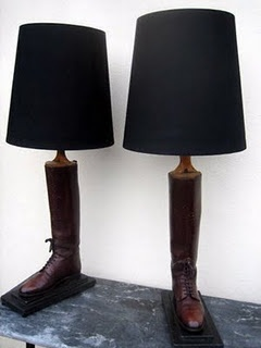 upcycled boots into lamp!