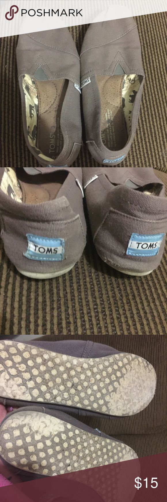 Gray TOMS slip one. Gray TOMS slip ons. Some wear but in good condition otherwise. TOMS Shoes Sneakers