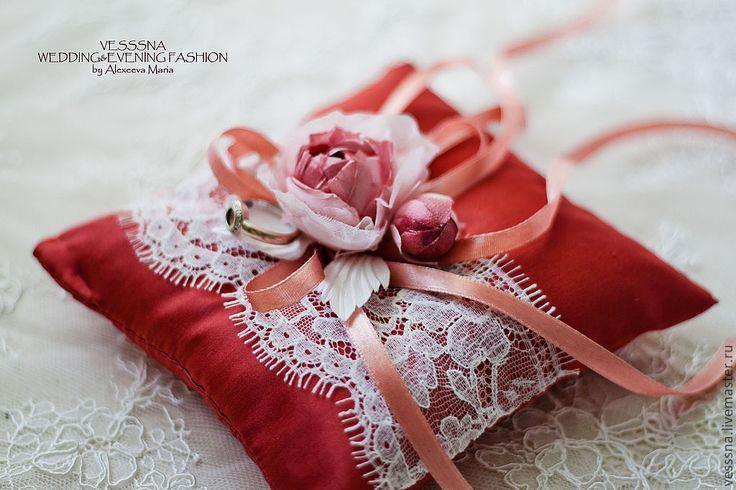 """Купить Подушечка для колец """"Терракота"""". Шелковые цветы. - коралловый, подушечка для колец, красная свадьба"""