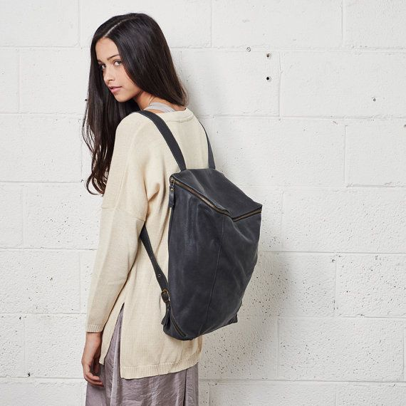 Sale 15% OffCloudy Black Leather Backpack by CyanByMiriWeiss