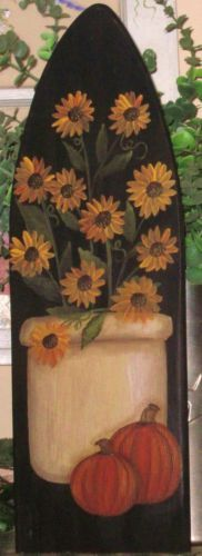 Primitive HP Folk Art Crock of Sunflowers Pumpkins Fall Stretcher   eBay