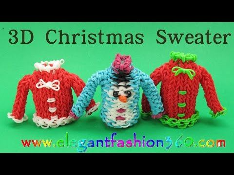 Rainbow Loom Christmas Sweater 3D Charm/Holiday/Ornament How to Loom Bands Tutorial