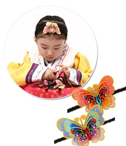 Cute Korean girl and butterfly hair band
