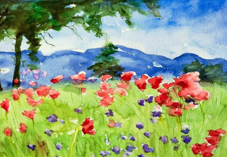 This print is from a bright color watercolor impressionist style landscape. Description from etsy.com. I searched for this on bing.com/images