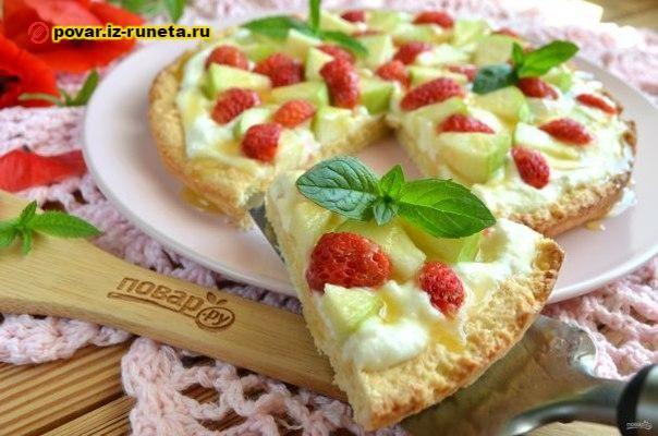 Яблочная пицца с карамелью   Повар на дому