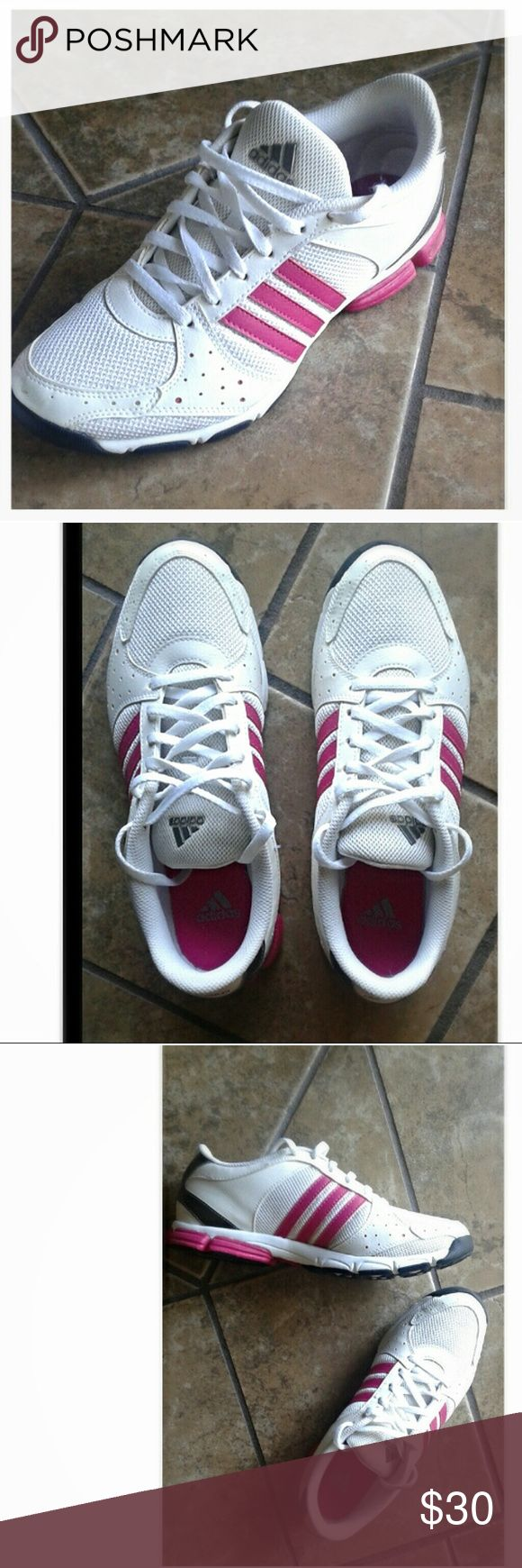 Adidas Core 55 #U42438 Excellent used condition. Performance Training shoes in White, Dark Pink, and Silvery Gray. Your perfect summer shoe. These say size 7 1/2, But I'd say they run a bit small and fit more Like a 7 with a narrow width, so I'll list it as such. adidas Shoes Sneakers