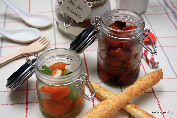 gegrillte Paprika mit Knoblauch, Grissini