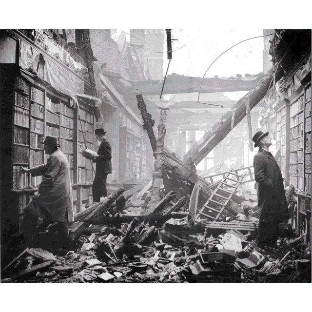 The library of Holland House, London the morning after it ...