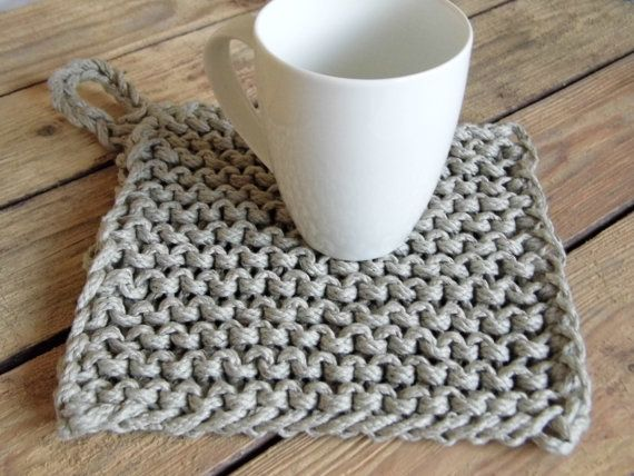 Chunky Potholder Table Mat Hand Knitted In Natural 100