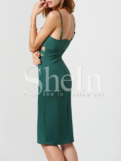 Зелёное платье с оригинальным разрезом на бретельках