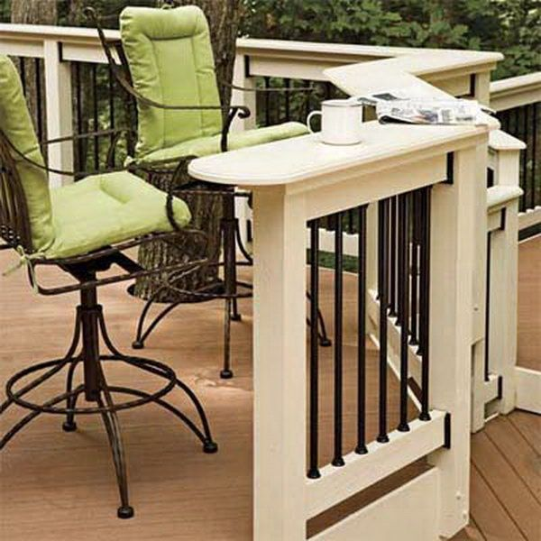 Elegant black-and-white deck railing. Longevity black aluminum balusters with white wood deck railing. Contemporary systems with composite posts of metal and wood look so clean and contemporary.