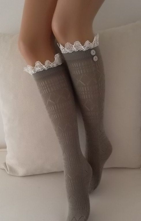 Sand Color Lace boot socks leg warmers lace by CarnavalBoutique