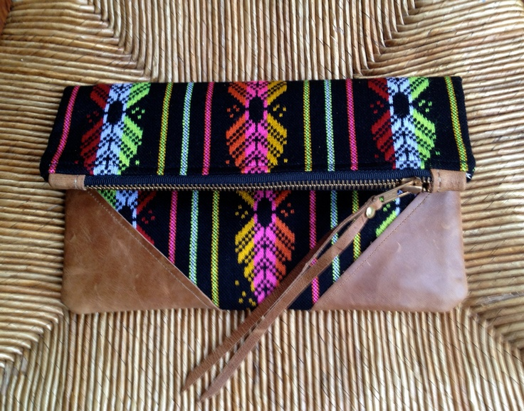FROM MEXICO with LOVE - Small Black Mexican Fabric Clutch with Distressed Leather Corner Detail