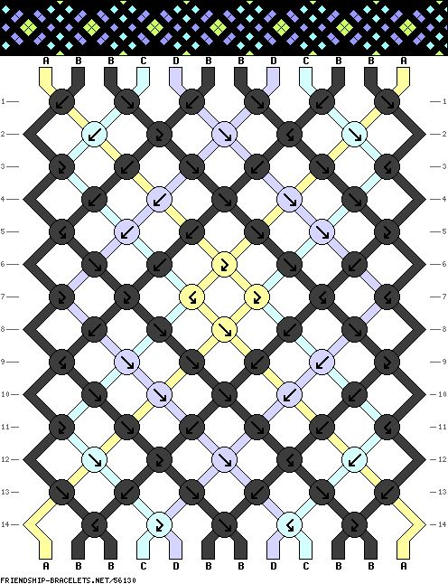 friendship bracelet pattern- this looks super complicated but would prolly look really cool