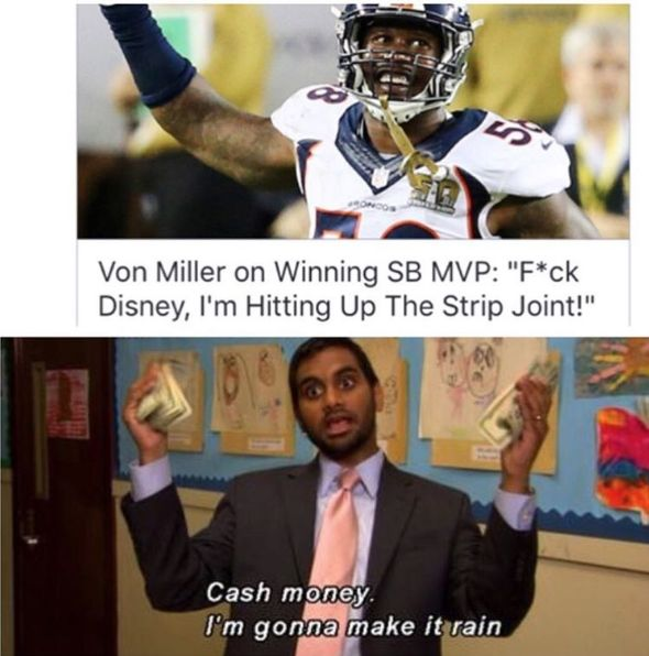 Disney probably didn't love this. But Von Miller still had one hell of a night #Broncos #panthers #football #nfl #superbowl50 #fantasyfootball