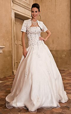 Ball Gown Strapless Floor-length Wedding Dress With Satin Wr... – USD $ 199.99