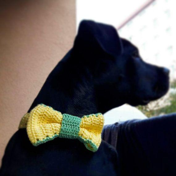 Handmade Dog Bow / Bowtie , Crochet dog collar, crochet dog accessory, custom bowtie