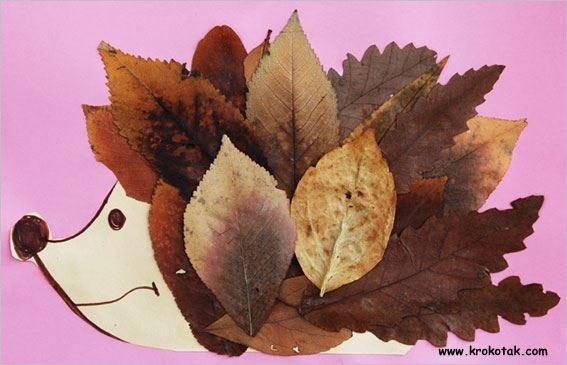Een egel maken met echte bladeren