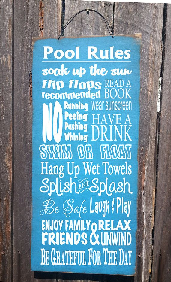 pool sign pool decor Pool Rules Sign pool by FarmhouseChicSigns