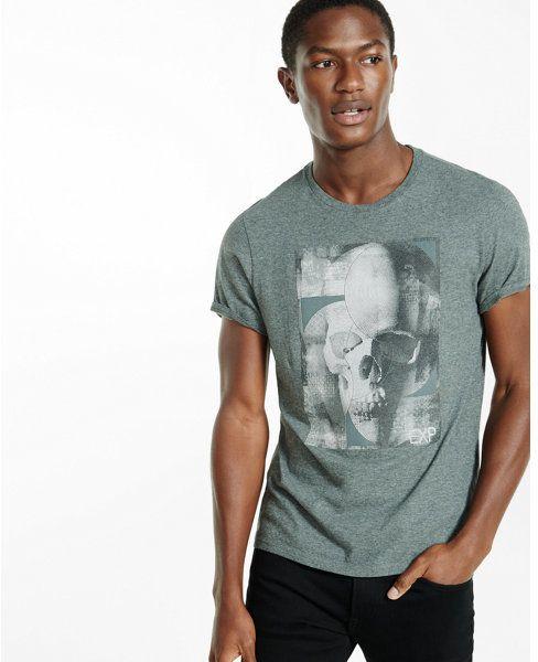 Express skull textured graphic t-shirt