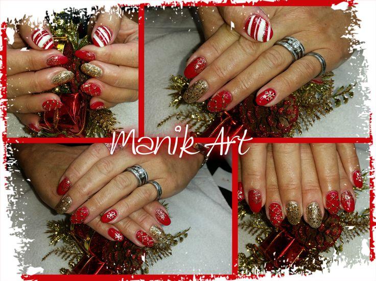 #christmas #nailsart #design #red #candycane #nails #ongles #noel #original