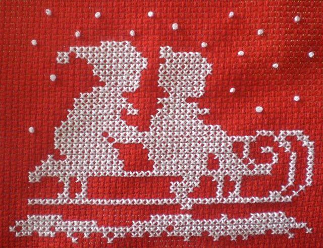 Girl & boy on sled christmas cross stitch pattern