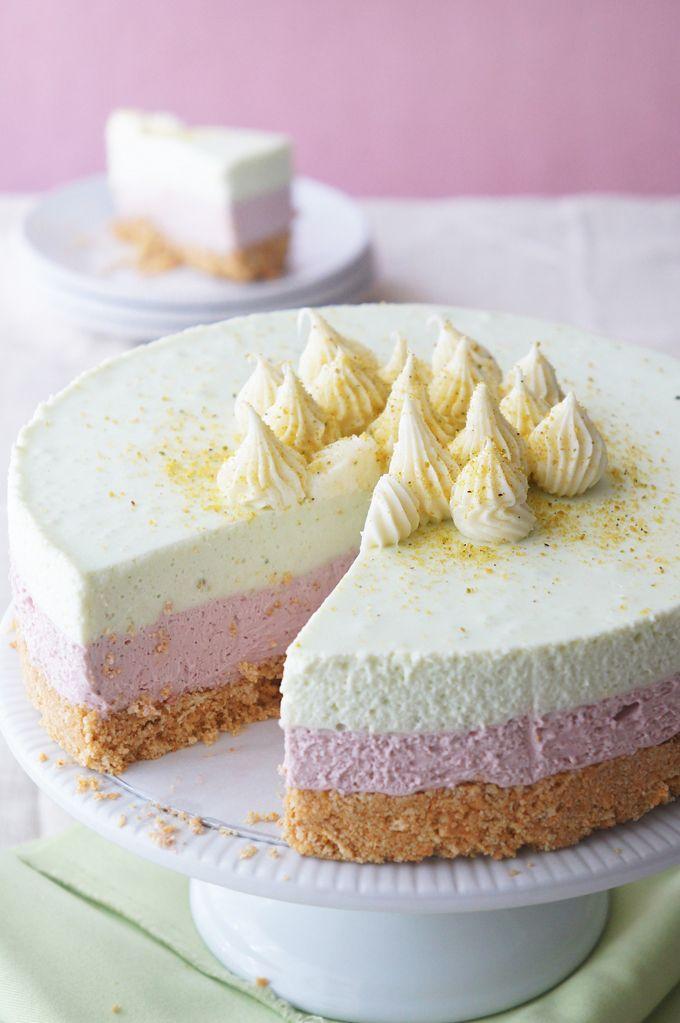 Cherry and Pistachio Layered Cheesecake - Sugary & Buttery