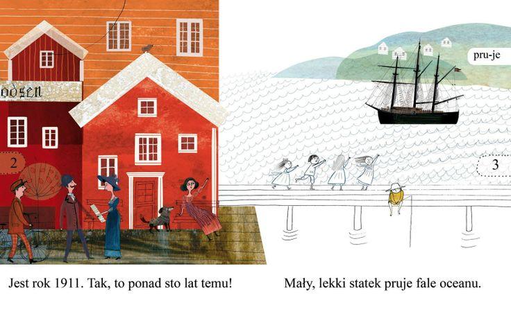 polska ilustracja dla dzieci: Nowość - Wyprawa na biegun. O ekspedycji Amundsena...