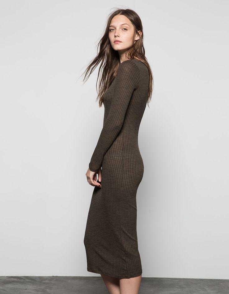 Bershka Greece - Φόρεμα Bershka μακρύ λάστιχο μανίκι 3/4