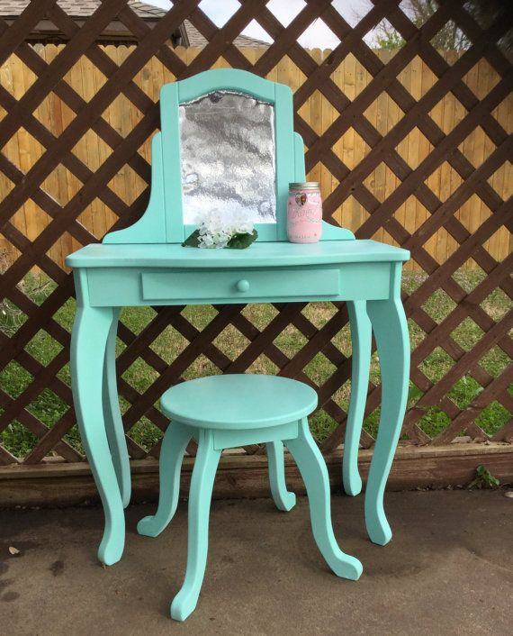 Upcycled child's vanity table with stool by Capriccios on Etsy