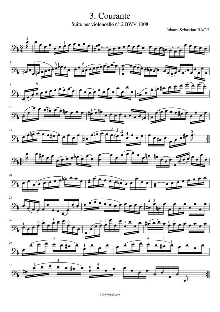 J. S. Bach - Cello Suite n° 2 BWV 1008 - 3. Courante | MuseScore